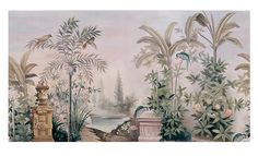 Wall coverings, Wallpaper, Wall Murals, Removable Vintage Wall Decals - Watercolor hand-painted Tropical Tree Leaves Wall Stickers