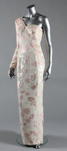 Catherine Walker designed this gown in 1991. Pink sequined ivory crepe gown with asymmetric neckline, worn at a banquet given by President Collor at the Itamaraty Palace whilst on a State visit to Brazil, 23rd April 1991. $26,450.00 Originally purchased by a woman from Florida. Sold March 2013 by Kerry Taylor auctions £78,000. Christies Lot 65