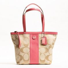 Coach Signature Stripe Khaki Coral Tote Shoulder Handbag F21950