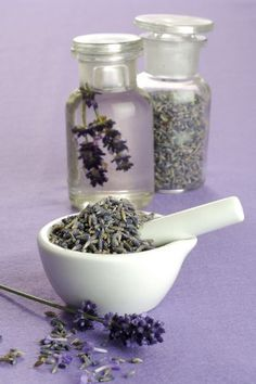 Everything Lavender...Lavender Aromatherapy Recipes To Make At Home... Lavender Hair Spray Detangler....1 cup of Lavender Flower Water  1/2 teaspoon of Jojoba Oil  1/2 teaspoon Vitamin E Oil  25-30 drops of Lavender Essential Oil AND MORE RECIPES HERE...