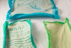 Flour paste resist- dry fabric