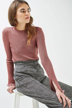 Flute Frill Sleeve Knitted Top | Topshop