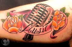 Sorce: http://springtattoo.com ------ microphone tattoo #Tattoos #microphone #roses