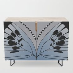 Butterfly Wing - Large Blue Credenza by laec Office Cabinets, Butterfly Wings, Credenza, Mid Century, Artwork, Pattern, Blue, Furniture, Collection