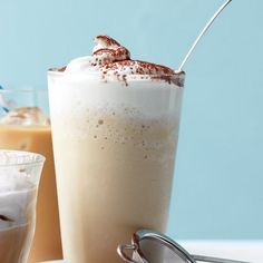 Coffee Frappe Recipe Beverages with vanilla ice cream, ice, brewed coffee, milk, simple syrup, whipped cream, cocoa powder