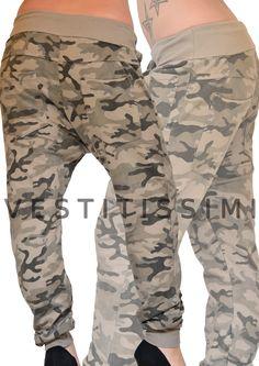 Pantalone sportivo mimetico colore tortora cavallo basso. Pantaloni donna con fantasia mimetico militare, chiusura con bottoni, tasche e fascia elastica in vita