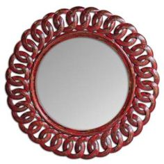 Check out the Uttermost 05029 Sassia Round Mirror in Red