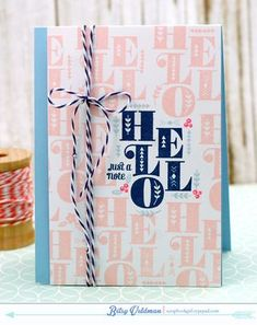 Just A Note Hello Card by Betsy Veldman for Papertrey Ink (June 2015)