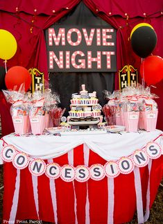 MOVIE NIGHT MARQUEE - How to make a movie night marquee that lights up. Great DIY an outdoor backyard movie night birthday party or home theater decor. DIY with printable marquee letters by Press Print Party! Backyard Movie Party, Outdoor Movie Party, Backyard Birthday Parties, Backyard Movie Nights, Sleepover Birthday Parties, Birthday Party For Teens, Cute Birthday Ideas, Themed Parties, Birthday Party Themes
