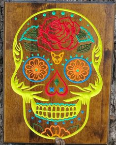 Amazing Sugar Skull Wall Art Day Of The Dead Colored By Greencottagedesign.