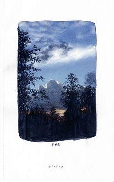 Fanny Hagdahl Sörebo — All the little landscape sketches I've done so. Kunst Inspo, Art Inspo, Art And Illustration, Pretty Art, Cute Art, Landscape Sketch, Art Graphique, Art Sketchbook, Aesthetic Art