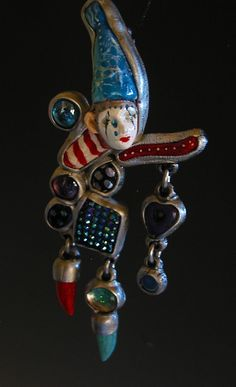 Crying Clown necklace pendant masquerade jewelry ooak Handmade on Etsy, $85.00