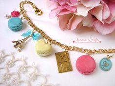 Macaron bag charm in pink yellow blue eiffel tower and I by xunnux
