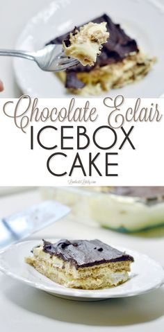 This no-bake chocolate eclair icebox cake is made with graham crackers and puddi. - This no-bake chocolate eclair icebox cake is made with graham crackers and pudding to give it a cak - Easy No Bake Desserts, Best Dessert Recipes, Fun Desserts, Easy Recipes, Freezer Desserts, Pudding Desserts, Potluck Recipes, Quick And Easy Sweet Treats, Homemade Snickers
