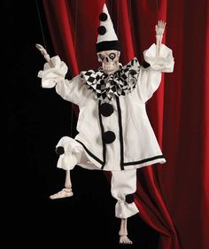 This Puppet is amazing, he will make a splash at your next Halloween!  Full Working Marionette puppet.  Measures 32″ x 12″. Total height 42″ including control and strings.