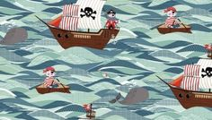 Pirate fabric - Childrens fabric - Boys fabric - Boys room decor - Pirate ships - Boys quilt - cotton - Quilting cotton - Dressmaking from SenseOfCotton on Etsy Studio Decoration Pirate, Pirate Quilt, Picnic Blanket, Outdoor Blanket, Pirate Boats, Andover Fabrics, Ocean Scenes, Tree Quilt, Boy Quilts