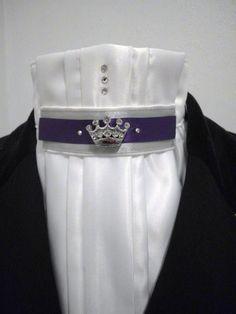 Gorgeous Equestrian Pzazz white pleated dressage show stock tie http://facebook.com/equestrian.pzazz