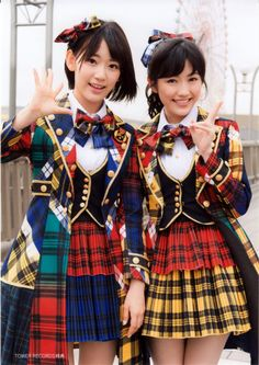 Miyawaki Sakura and Watanabe Mayu. Both are the center of AKB48's 38th single, Kibouteki Refrain. What a very nice seifuku! Kibouteki Refrain's seifuku is my favourite