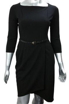 Black wrap work dress with belt