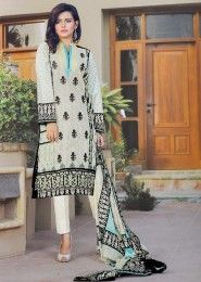 Daily Wear Cambric  White Printed Churidar Suit