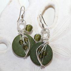 Green Dangle Earrings Sage Green Earrings by CoconutJoyJewelry