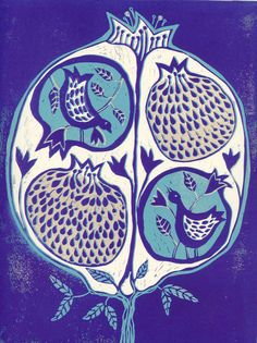 linocut Pomegranate tree in Purple and turquoise by artcanbefun