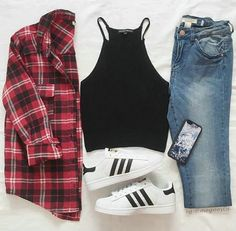 Red flannel outfit, flannel outfits summer, cute outfits with flannels, flannel shirt outfits Mode Outfits, Fall Outfits, Summer Outfits, Casual Outfits, Cute Outfits With Flannels, Red Flannel Outfit, Plaid Flannel, Flannel Outfits Summer, Flannel Shirts