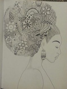 Zentangle, hair, afro, afro puff, ink, pencil www.andreaagosto.com