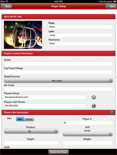 Field A Team Coach - Player Setup on iPad