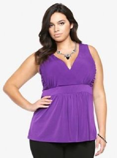 f3717544be915 NWT Torrid Purple Sleeveless Surplice Empire Top v-neck halter  43 SOLD OUT  PLUS  . Plus Size ShirtsTrendy Plus Size ...
