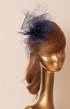 NAVY BLUE Crinoline FASCINATOR with Veil by ancoraboutique, $115.00