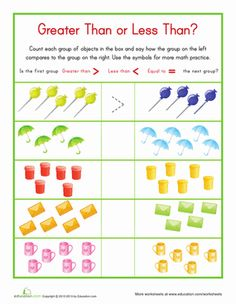 Kindergarten Counting & Numbers Worksheets: Less Than/Greater Than