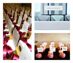 My fiance and I are toying with the idea of somehow using candy with the escort cards. (Wedding Favors/seating « David Tutera Wedding Blog • It's a Bride's Life • Real Brides Blogging til I do!)