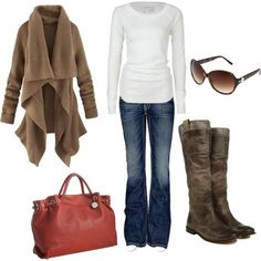 Casual but cute and absolutely love the boots!