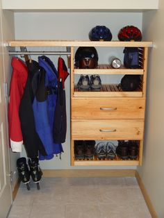 John Louis Home Closet Solid Wood Shelving Design With Shortened Tower And  Drawers For Entry Closet.