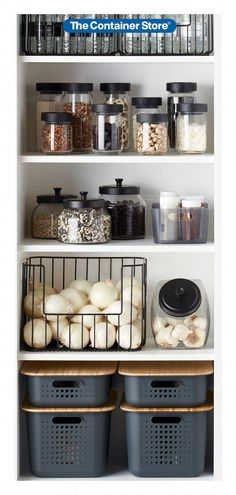 Organize your pantry with pantry organizers from The Container Store! Our pantry organizers come in many designs and sizes to fit any kitchen pantry space. Storage Room Organization, Bathroom Storage Solutions, Laundry Room Organization, Pantry Storage, Closet Storage, Kitchen Storage, Storage Baskets, Storage Ideas, Laundry Baskets