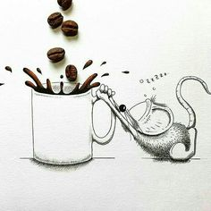 Funny Drawings, Animal Drawings, Pencil Drawings, I Love Coffee, Coffee Art, Mouse Illustration, Mouse Crafts, Diy Resin Crafts, Arte Disney