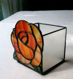 [彩繪玻璃]燭台[玫瑰(橙色)|蠟燭|近衛|手工郵購銷售Creema