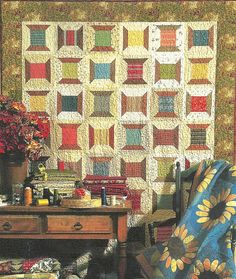 Primitive Folk Art Quilt Pattern:  SPOOLS OF THREAD **** loooove the striped and checked fabric for the thread