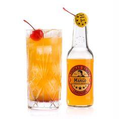 Drunken Mango: 4 cl Ron Botucal Reserva, 2 cl Luxardo Maraschino, 1 cl frischer Limettensaft, Thomas Henry Mystic Mango / Glas: Highballglas / Garnitur: Maraschino-Kirschen