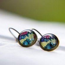 #Ohrringe #ohrhänger #bronce #earrings #dinedesign #dinedesignfactory #cabochons #unique #einzigartig #Einzelstück #diy #shop #flower #hawaii