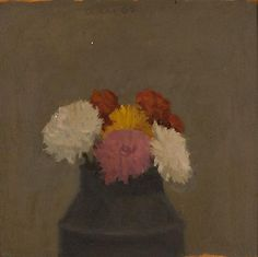 Robert Kulicke Flowers 1962 oil on board 9 x 9 inches