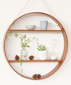 Oak Circle Shelf - Two Tier - Dark Walnut Finish | Bride & Wolfe