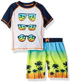8b74098261900 Baby Buns Baby Boys Two Piece Tropic Paradise Rashguard Swimsuit Set,  Multi, Months.