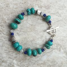 Chunky Turquoise, Lapis and Moonstone Bracelet with Hill Tribe Silver, 7.5 inches