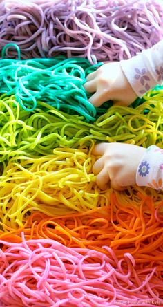 Rainbow Spaghetti - have kids practice cutting them, then can spread out on paper as art practice