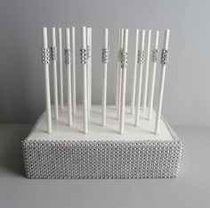 silver bling white paper straw cake pop by aprincesspractically, $22.00
