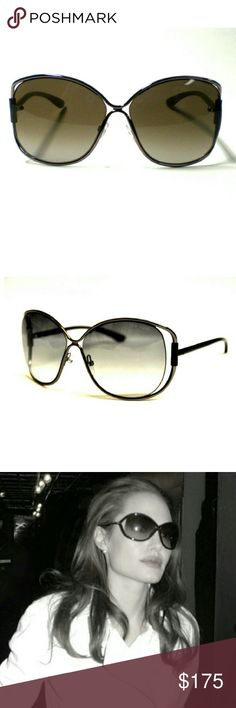 """Tom Ford Emmeline Butterfly Sunnies Tom Ford?TF155 08B 6113 125?""""Emmeline"""" Metal Butterfly Sunglasses.?Oversized sunnies. Gunmetal frames with black enamel arms and a grey, gradient lens. Gently preowned condition, with no wear to the lens. The only sign of wear is on the interior arm, where the name has faded. Still has etched it authenticity code on the end of the arm. As seen on celebrities such as Angelina Jolie. These are discontinued, and a rare, amazing find! Will come in a case…"""