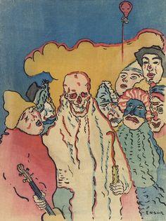 beautiful-belgium: James Ensor - cover of Peintre et graveur (detail) Source James Ensor, 70s Sci Fi Art, Dance Of Death, Traditional Ink, Organic Art, Masks Art, High Art, Pretty Art, Famous Artists