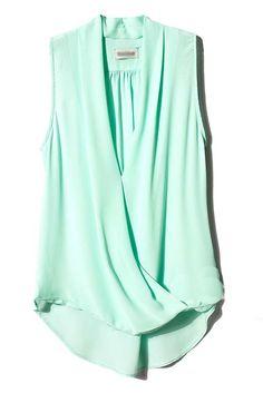 Mint Green V Neck Sleeveless Asymmetrical Chiffon Blouse